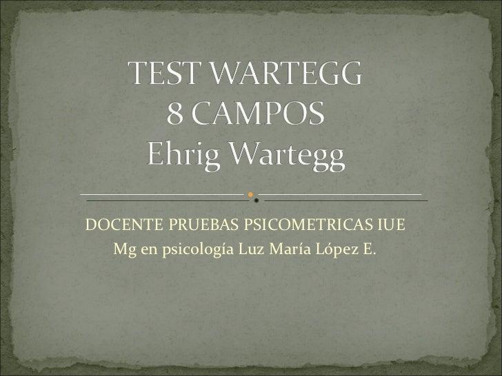 DOCENTE PRUEBAS PSICOMETRICAS IUE Mg en psicología Luz María López E.