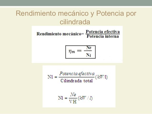 Rendimiento mecánico y Potencia por            cilindrada