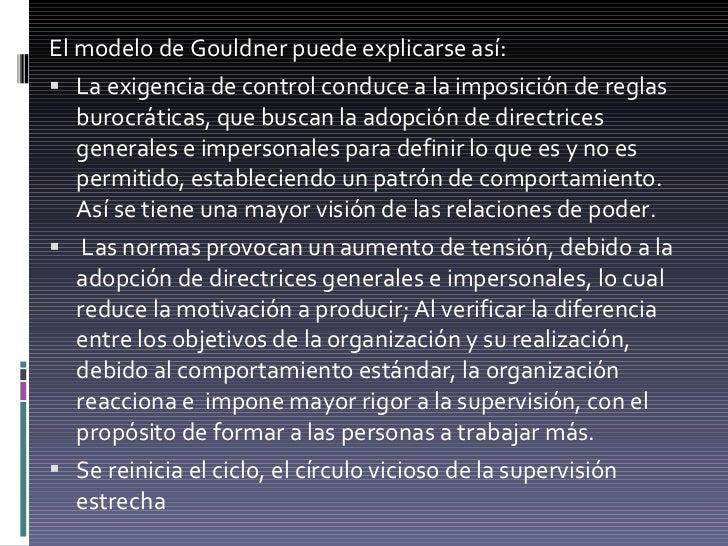 <ul><li>El modelo de Gouldner puede explicarse así: </li></ul><ul><li>La exigencia de control conduce a la imposición de r...
