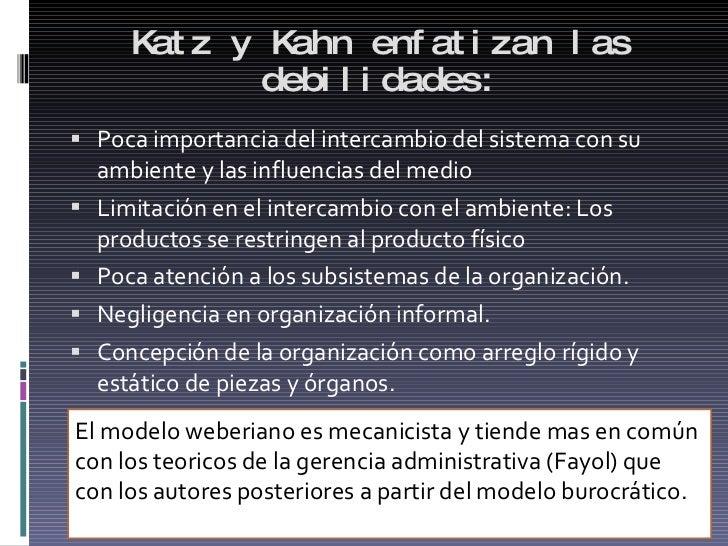 Katz y Kahn enfatizan las debilidades: <ul><li>Poca importancia del intercambio del sistema con su ambiente y las influenc...