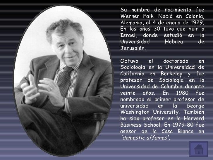 Su nombre de nacimiento fue Werner Falk. Nació en Colonia, Alemania, el 4 de enero de 1929. En los años 30 tuvo que huir a...