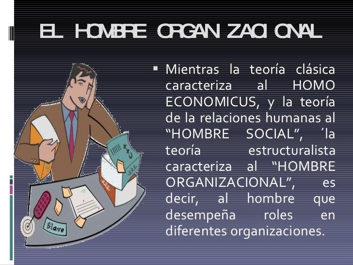 EL HOMBRE ORGANIZACIONAL <ul><li>Mientras la teoría clásica caracteriza al HOMO ECONOMICUS, y la teoría de la relaciones h...