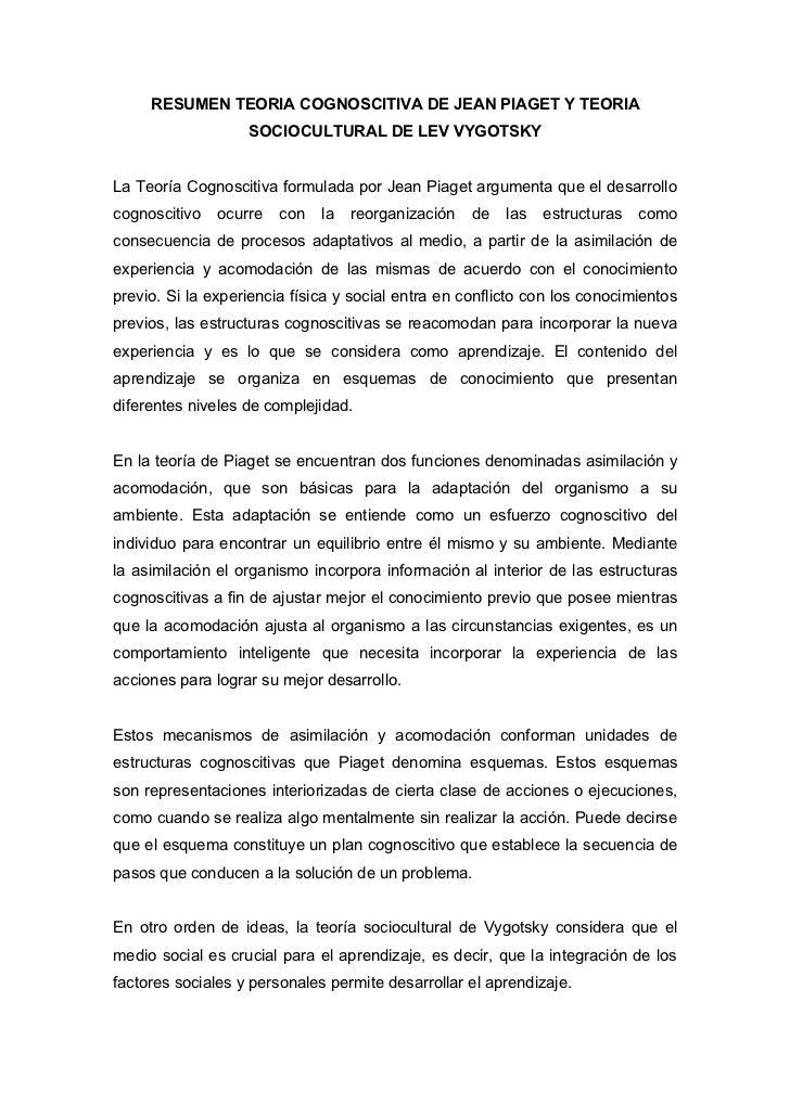RESUMEN TEORIA COGNOSCITIVA DE JEAN PIAGET Y TEORIA                    SOCIOCULTURAL DE LEV VYGOTSKY   La Teoría Cognoscit...