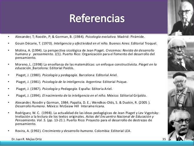 •     Alexander, T; Roodin, P; & Gorman, B. (1984). Psicología evolutiva. Madrid: Pirámide.•     Gouin Décarie, T. (1970)....