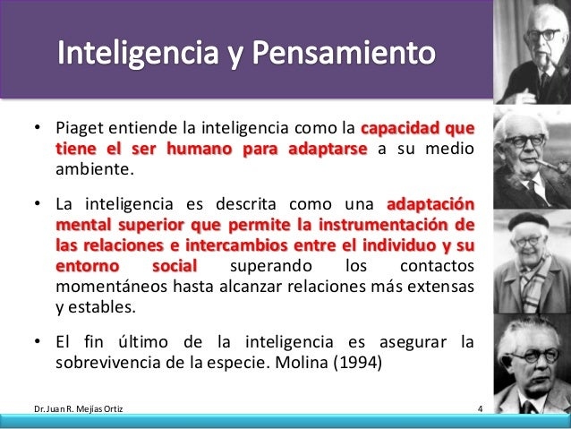 • Piaget entiende la inteligencia como la capacidad que  tiene el ser humano para adaptarse a su medio  ambiente.• La inte...