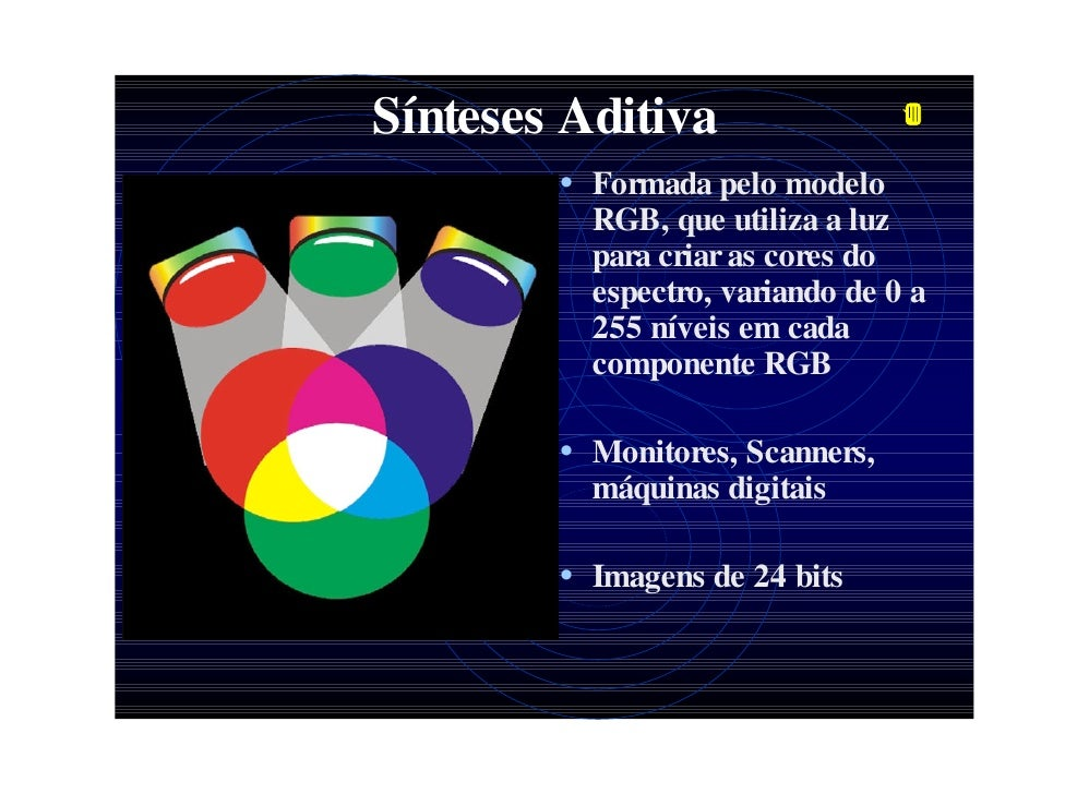 Sínteses Aditiva         • Formada pelo modelo           RGB, que utiliza a luz           para criar as cores do          ...
