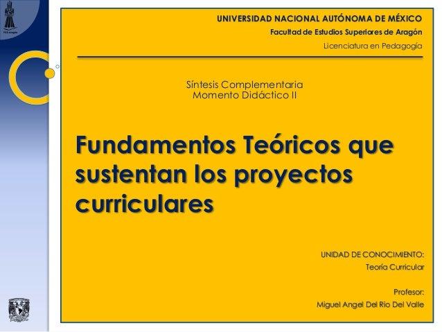 UNIVERSIDAD NACIONAL AUTÓNOMA DE MÉXICO Facultad de Estudios Superiores de Aragón Licenciatura en Pedagogía Fundamentos Te...