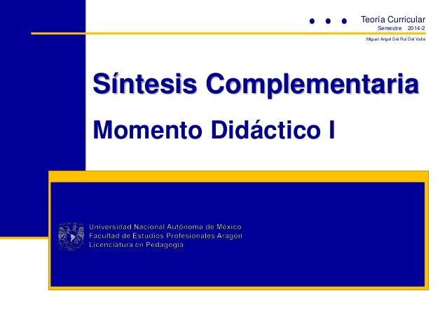 Teoría Curricular Semestre  2014-2  Miguel Angel Del Rui Del Valle  Síntesis Complementaria Momento Didáctico I
