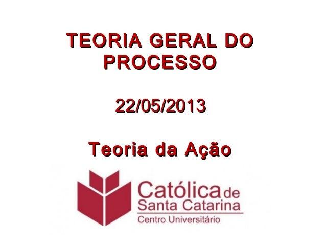 TEORIA GERAL DOTEORIA GERAL DOPROCESSOPROCESSO22/05/201322/05/2013Teoria da AçãoTeoria da Ação