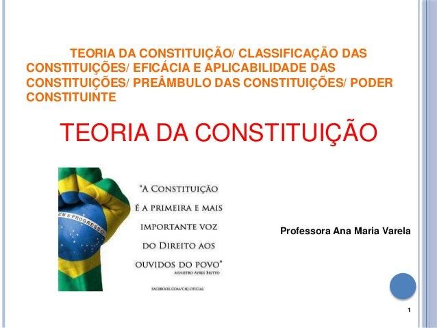 TEORIA DA CONSTITUIÇÃO/ CLASSIFICAÇÃO DAS CONSTITUIÇÕES/ EFICÁCIA E APLICABILIDADE DAS CONSTITUIÇÕES/ PREÂMBULO DAS CONSTI...