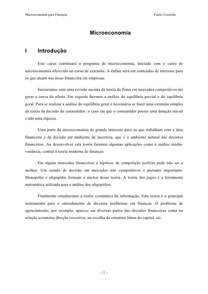 Microeconomia para Finanças                                                    Paulo Coutinho                             ...