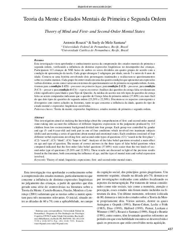 disponível em www.scielo.br/prc  437  Teoria da Mente e Estados Mentais de Primeira e Segunda Ordem  Theory of Mind and Fi...