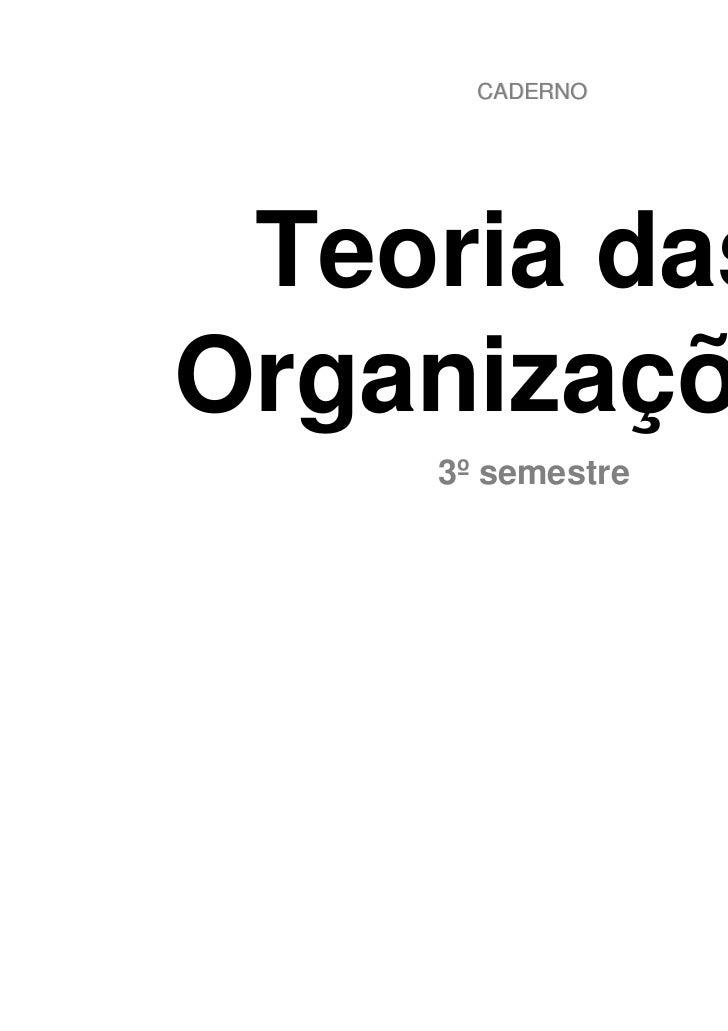 CADERNO Teoria dasOrganizações    3º semestre