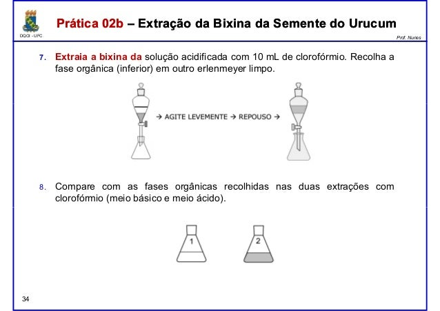 DQOI - UFC Prof. Nunes Prática 02b – Extração da Bixina da Semente do UrucumPrática 02b – Extração da Bixina da Semente do...