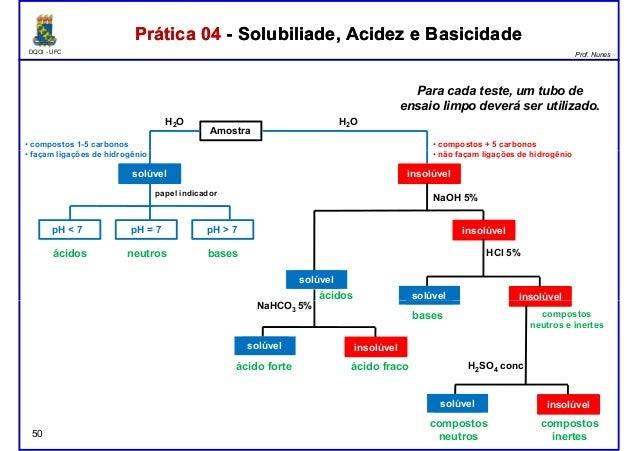 DQOI - UFC Prof. Nunes Prática 04 - Solubiliade, Acidez e BasicidadePrática 04 - Solubiliade, Acidez e Basicidade Amostra ...