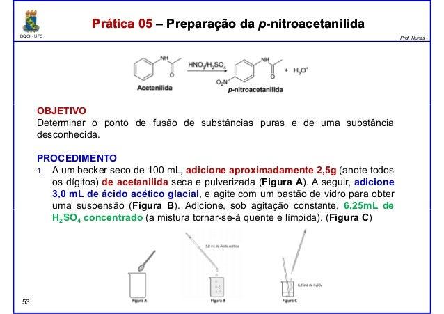 DQOI - UFC Prof. Nunes Prática 05 – Preparação da p-nitroacetanilidaPrática 05 – Preparação da p-nitroacetanilida OBJETIVO...