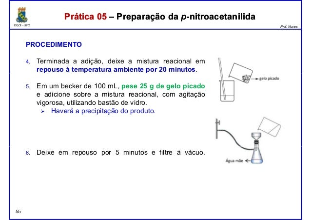DQOI - UFC Prof. Nunes Prática 05 – Preparação da p-nitroacetanilidaPrática 05 – Preparação da p-nitroacetanilida PROCEDIM...