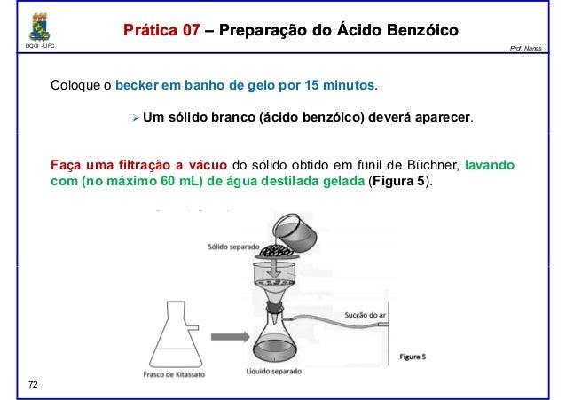 DQOI - UFC Prof. Nunes Coloque o becker em banho de gelo por 15 minutos. Um sólido branco (ácido benzóico) deverá aparecer...
