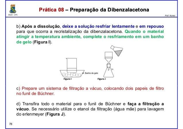 DQOI - UFC Prof. Nunes Prática 08 – Preparação da DibenzalacetonaPrática 08 – Preparação da Dibenzalacetona b) Após a diss...
