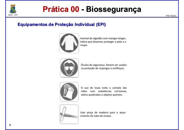 DQOI - UFC Prof. Nunes Prática 00 - BiossegurançaPrática 00 - Biossegurança EquipamentosEquipamentos dede ProteçãoProteção...