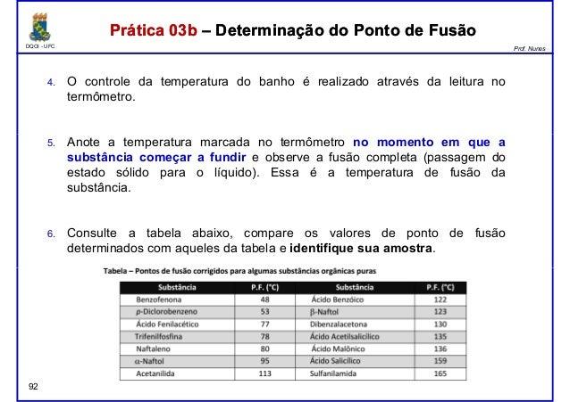 DQOI - UFC Prof. Nunes Prática 03b – Determinação do Ponto de FusãoPrática 03b – Determinação do Ponto de Fusão 4. O contr...