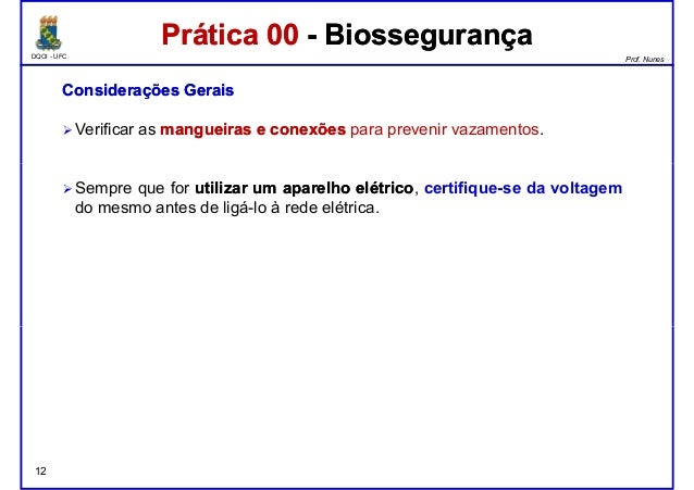 DQOI - UFC Prof. Nunes Prática 00 - BiossegurançaPrática 00 - Biossegurança ConsideraçõesConsiderações GeraisGerais Verifi...