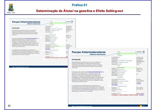 DQOI - UFC Prof. Nunes Prática 01Prática 01 Determinação de Álcool na gasolina e EfeitoDeterminação de Álcool na gasolina ...