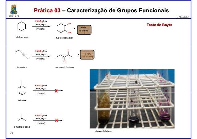 DQOI - UFC Prof. Nunes KMnO4 frio HO- , H2O (violeta) OH OH cicloexeno 1,2-cicloexadiol MnO2 (marrom) + Prática 03 – Carac...