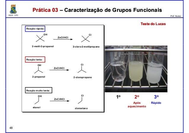 DQOI - UFC Prof. Nunes OH ZnCl/HCl Cl Reação rápida: Prática 03 – Caracterização de Grupos FuncionaisPrática 03 – Caracter...