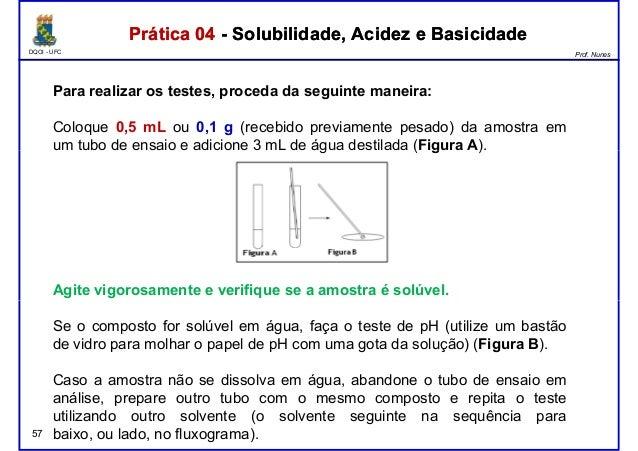 DQOI - UFC Prof. Nunes Para realizar os testes, proceda da seguinte maneira: Coloque 0,5 mL ou 0,1 g (recebido previamente...