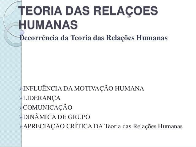 TEORIA DAS RELAÇOES HUMANAS Decorrência da Teoria das Relações Humanas  INFLUÊNCIA DA MOTIVAÇÃO  HUMANA  LIDERANÇA COMU...