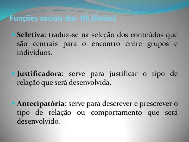 Funções sociais das RS (Doise) Seletiva: traduz-se na seleção dos conteúdos que  são centrais para o encontro entre grupo...