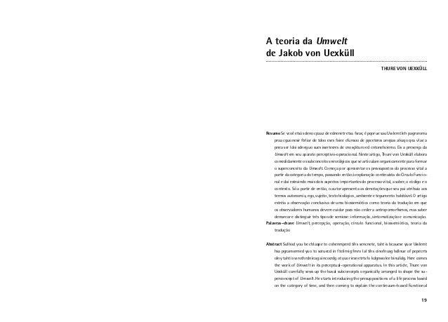 A teoria da Umweltde Jakob von Uexküll                                                                   THURE VON UEXKÜLL...