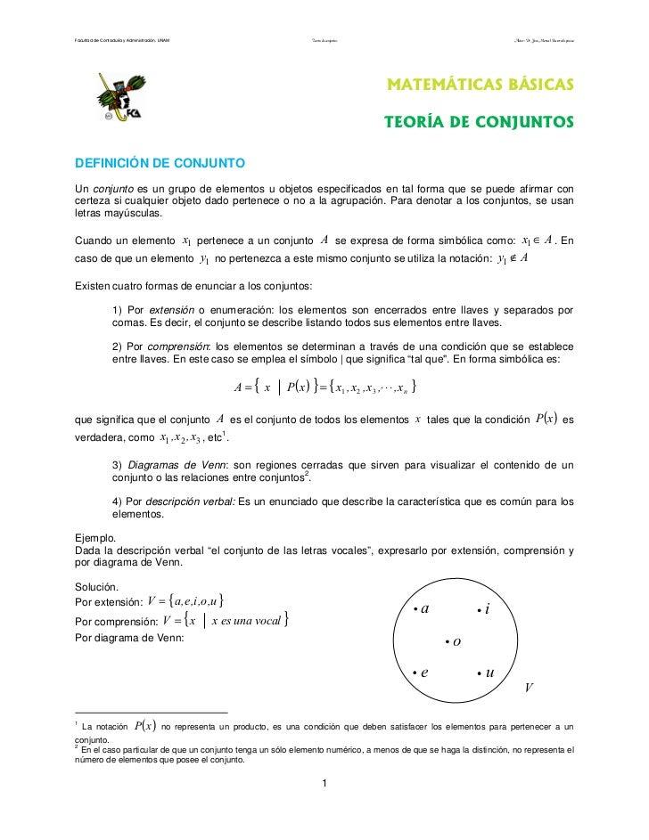 Facultad de Contaduría y Administración. UNAM                                 Teoría de conjuntos                         ...