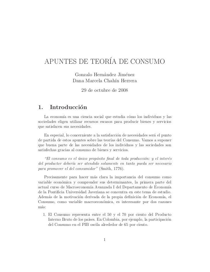 APUNTES DE TEOR´ DE CONSUMO                    IA                     Gonzalo Hern´ndez Jim´nez                           ...