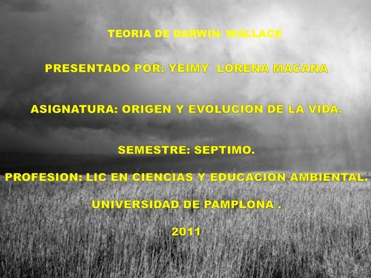 TEORIA DE DARWIN- WALLACE