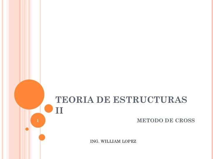 TEORIA DE ESTRUCTURAS    II1                             METODO DE CROSS         ING. WILLIAM LOPEZ