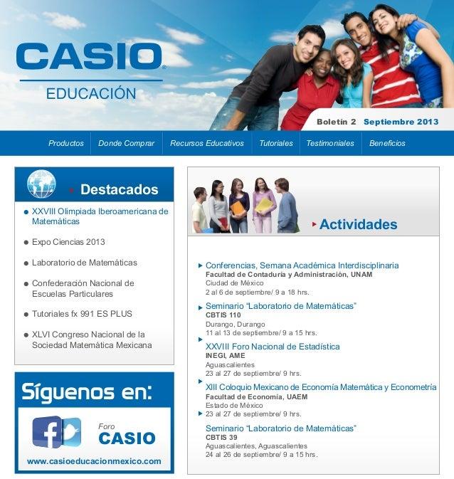 Boletín 2 Septiembre 2013 Productos  Donde Comprar  Recursos Educativos  Tutoriales  Testimoniales  Beneficios  Destacados...
