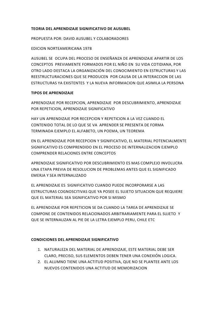 TEORIA DEL APRENDIZAJE SIGNIFICATIVO DE AUSUBEL  <br />PROPUESTA POR: DAVID AUSUBEL Y COLABORADORES<br />EDICION NORTEAMER...