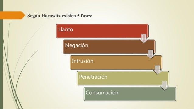 Según Horowitz existen 5 fases: Llanto Negación Intrusión Penetración Consumación