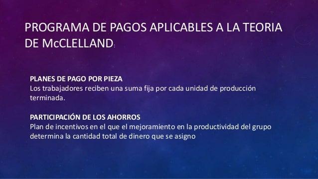 PROGRAMA DE PAGOS APLICABLES A LA TEORIADE McCLELLAND:PLANES DE PAGO POR PIEZALos trabajadores reciben una suma fija por c...