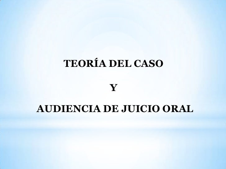 TEORÍA DEL CASO           YAUDIENCIA DE JUICIO ORAL