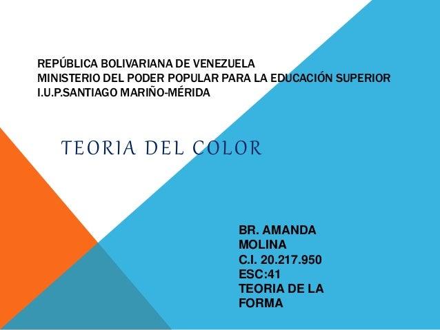 REPÚBLICA BOLIVARIANA DE VENEZUELA MINISTERIO DEL PODER POPULAR PARA LA EDUCACIÓN SUPERIOR I.U.P.SANTIAGO MARIÑO-MÉRIDA TE...