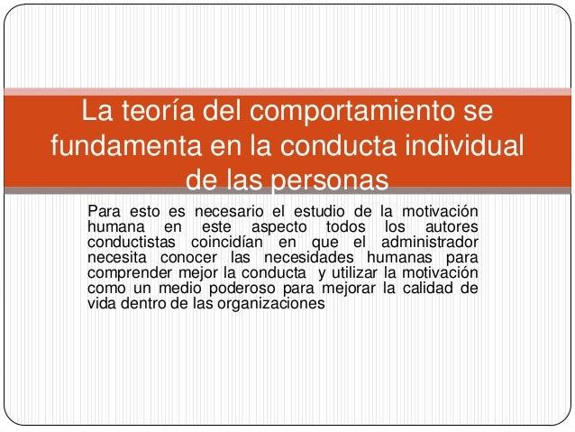 Teoria del comportamiento organizacional Slide 3