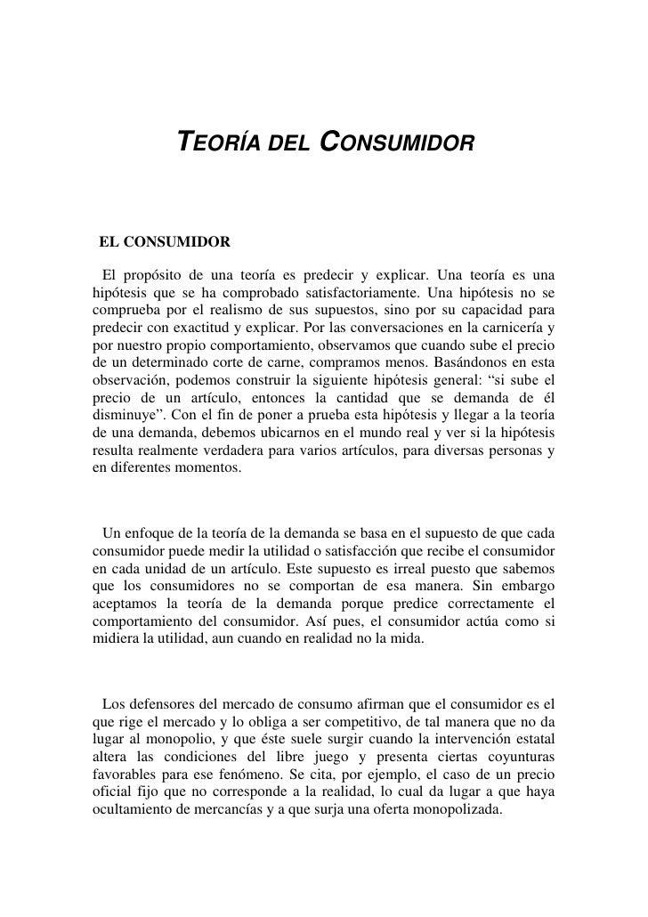 Teoria del consumidor conclusion