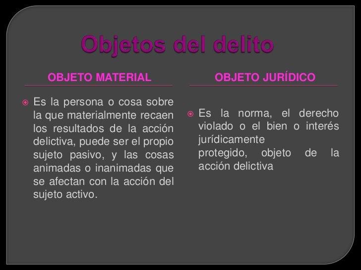 a)   Es la norma del derecho violado o el bien     o interés jurídicamente protegido.b)   Es el objeto de la acción delict...