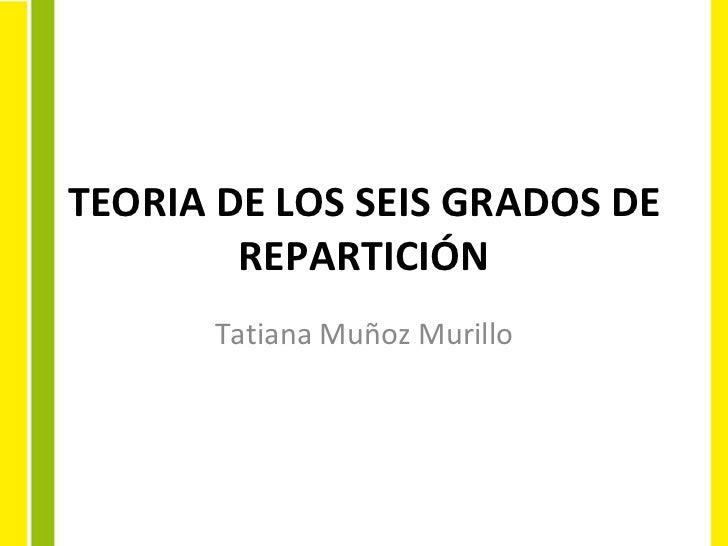 TEORIA DE LOS SEIS GRADOS DE REPARTICIÓN Tatiana Muñoz Murillo