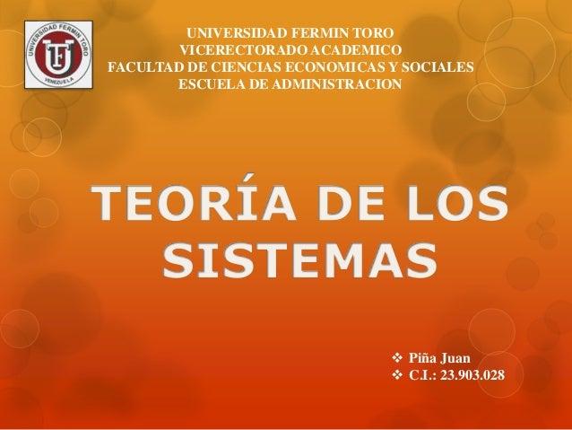 UNIVERSIDAD FERMIN TORO  VICERECTORADO ACADEMICO  FACULTAD DE CIENCIAS ECONOMICAS Y SOCIALES  ESCUELA DE ADMINISTRACION  ...