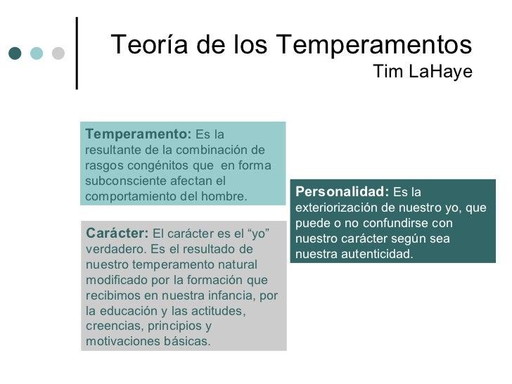Teoría  de los Temperamentos Tim LaHaye Temperamento:  Es la resultante de la combinación de rasgos congénitos que  en for...