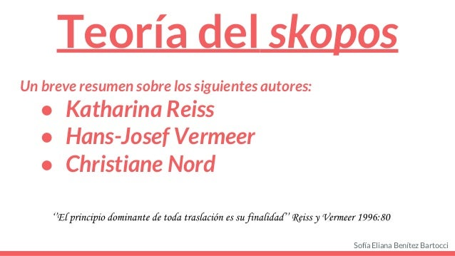 Teor a del skopos for Christiane nord